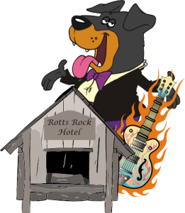 Graphic of a Rott holding a flaming guitar standing near a dog house.